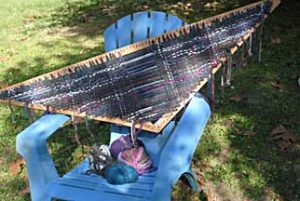 Blue-gray Tri-Weaving in process.